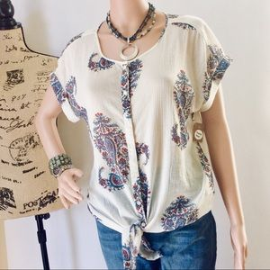 Lucky 100% Cotton Tunic Button Front Cuffed Sleeve